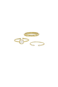 Opal Day Dreams 18k Gold Plated Ring Set of 3