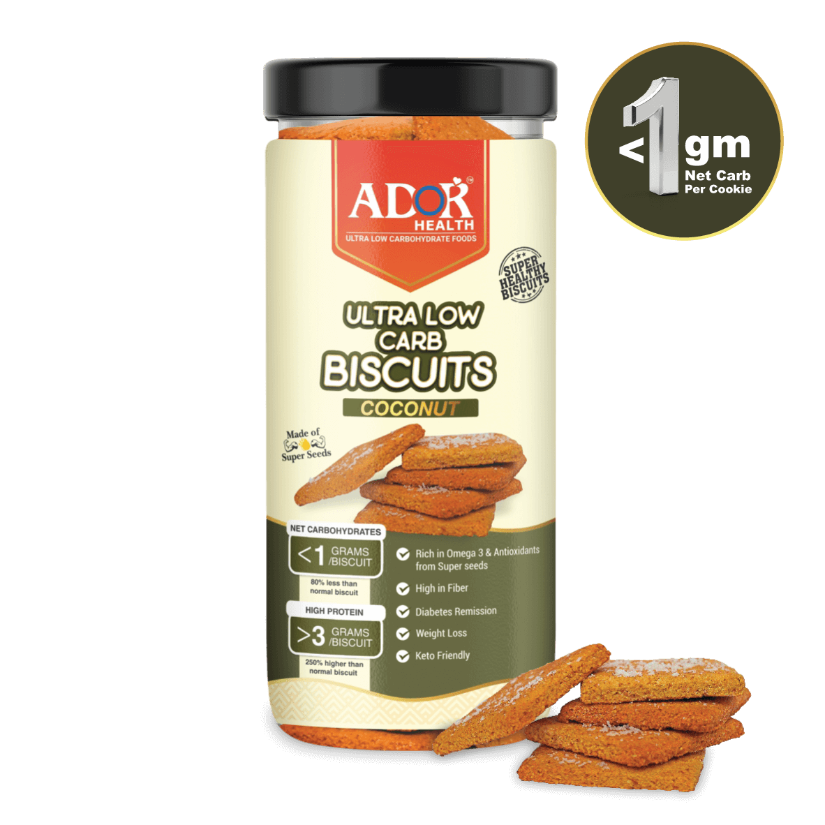Ultra Low Carb Biscuits : Coconut Flavour (190 Gram)