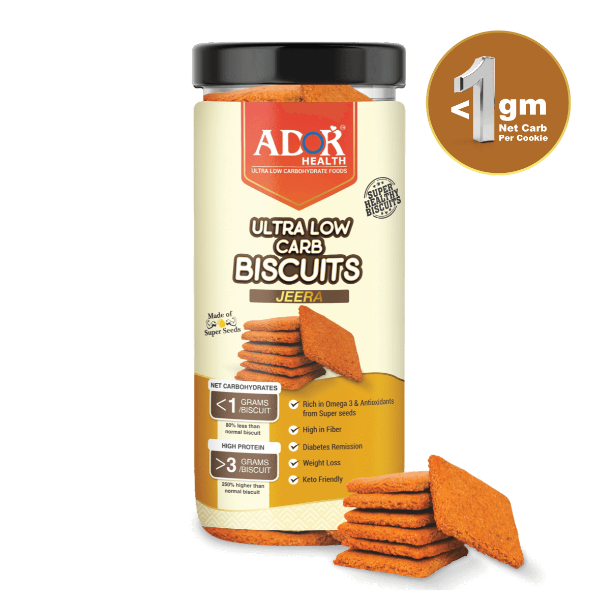 Ultra Low Carb Biscuits : Jeera Flavour (190 Gram)