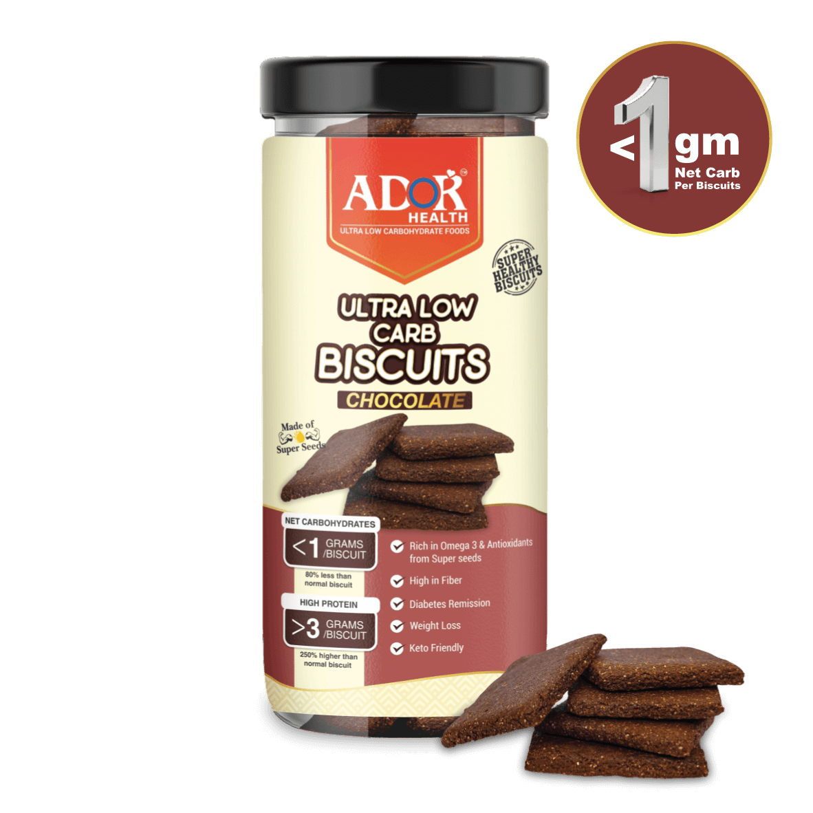 Ultra Low Carb Biscuits : Chocolate Flavour (190 Gram)