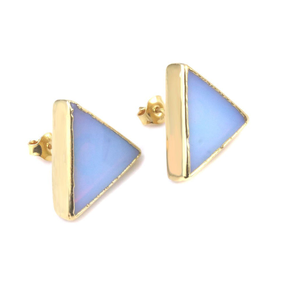Triangular Opalite Earrings with Silver Gold Plated finish
