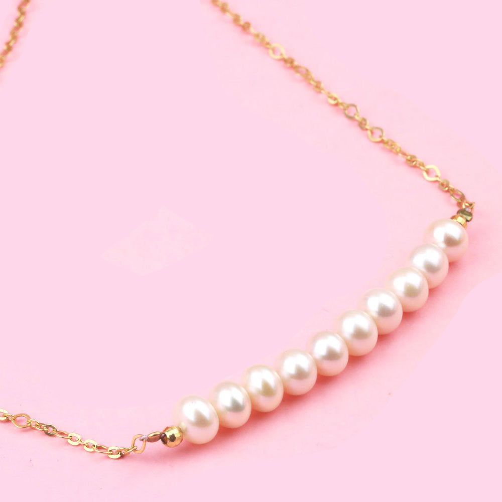 Double Pearl Necklace with Silver Gold Plated chain