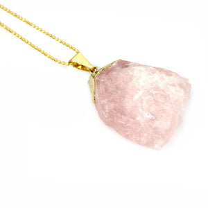 Rose Quartz Pendant with Silver Gold Plated chain