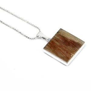 Fossilized Wood Square Pendant with Silver chain