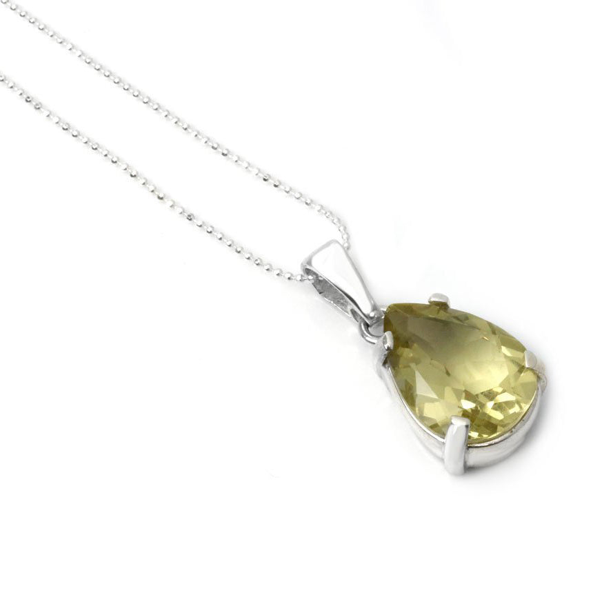 Super Cut Lemon Quartz Pendant with Silver Chain