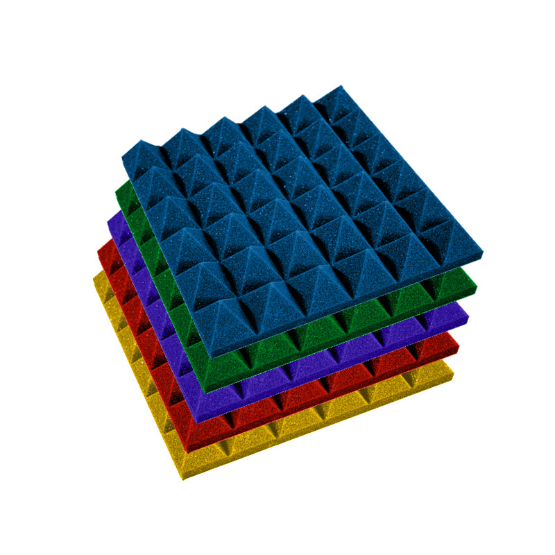 Premium 2 Inch Pyramid Acoustic Foam Panel - Colored