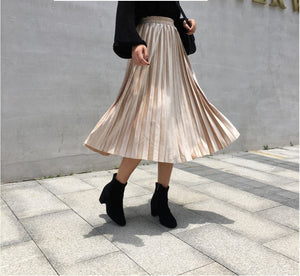 2019 Autumn And Winter Multicolor Gold Velvet Mid-long Section A Line Pleated Skirt Skirt Metallic New