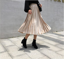 Load image into Gallery viewer, 2019 Autumn And Winter Multicolor Gold Velvet Mid-long Section A Line Pleated Skirt Skirt Metallic New