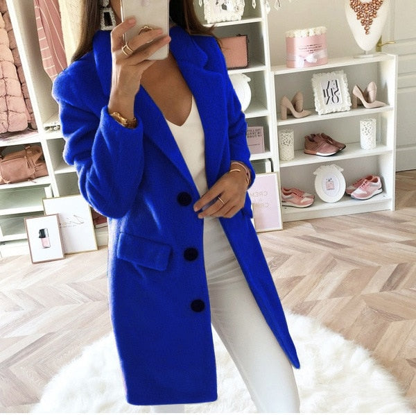 2019 New Fashion Wool Blend Coat High Quality Long Sleeve Turn-Down Collar Warm Autumn Winter Wool Women Jackets Plus Size 5XL
