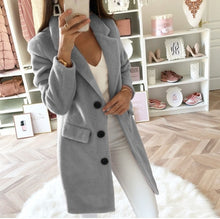Load image into Gallery viewer, 2019 New Fashion Wool Blend Coat High Quality Long Sleeve Turn-Down Collar Warm Autumn Winter Wool Women Jackets Plus Size 5XL