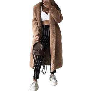 2019 Autumn And Winter Solid Color Woolen Coat Female Mid-Long New Korean Temperament Women's  Popular Outerwear Woolen  Coat