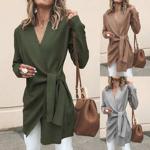 Coat  Chic Women Solid Color V Neck Long Sleeve Waist Knotted Casual Knitted Coat Cotton Slim Waist Knotted Office Women's Coat