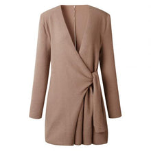 Load image into Gallery viewer, Coat  Chic Women Solid Color V Neck Long Sleeve Waist Knotted Casual Knitted Coat Cotton Slim Waist Knotted Office Women's Coat