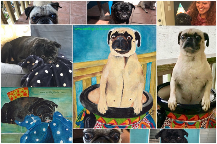 Phoebe & Mozzie: A Pugapaloosa Painting for Christmas