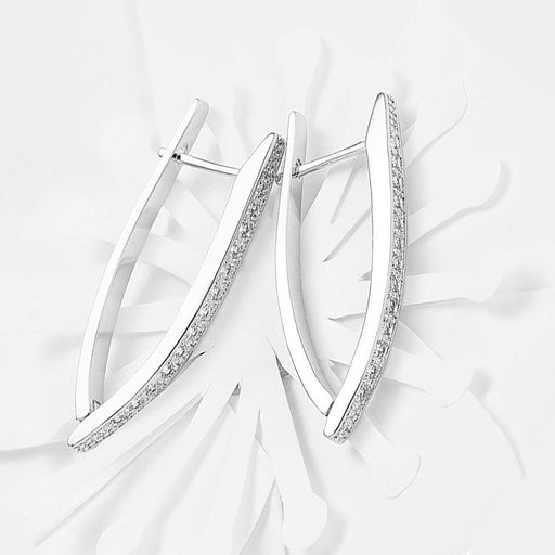 1.00 CT Dangling Pave Teardrop Earrings in 14K White Gold Jewelry Silver Milo