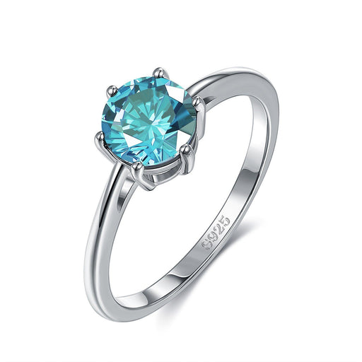 18K White Gold Plated Classic Round Cut Sky Blue Jewelry Silver Milo