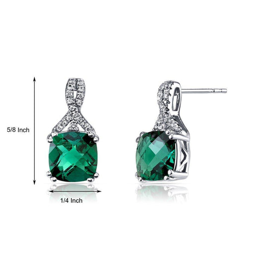2.00 CT Cushion Cut Emerald Stud Earring in 18K White Gold Plated Jewelry Silver Milo