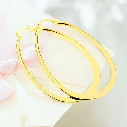 "2.80"" Flat Oval Hoop Earring in 18K Gold Plated Jewelry Silver Milo"