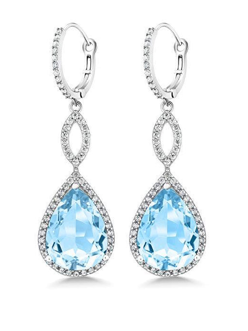 3.55 CTTW Pear Cut Gemstone Infinity Drop Earrings Jewelry Silver Milo