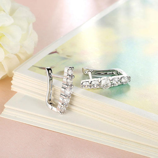 5 Piece Stone Huggie Earring in 18K White Gold Plated with Swarovski Jewelry Silver Milo