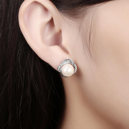 Adeline Stud Earring in 18K White Gold Plated Jewelry Silver Milo