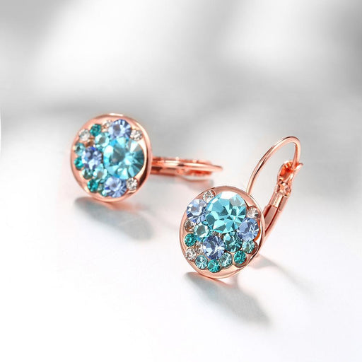 Aquamarine Mona Lisa Leverback in 18K Rose Gold Plated with Swarovski Jewelry Silver Milo