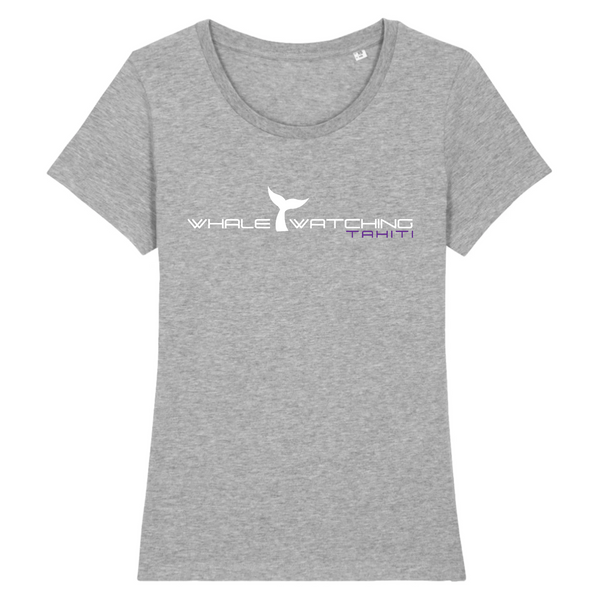 Whale Watching Tahiti T-shirt gris chiné femme