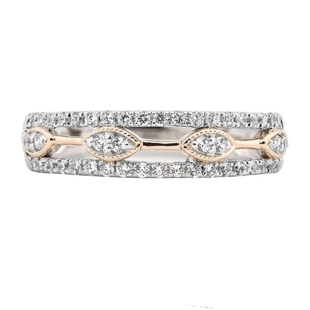 14kt White Gold and Rose Gold Diamond Band