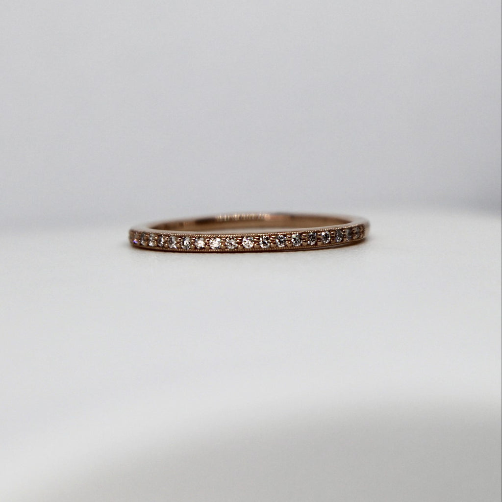 14kt Rose Gold Diamond Stackable Band