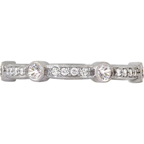 14kt White Gold Diamond Stackable Band
