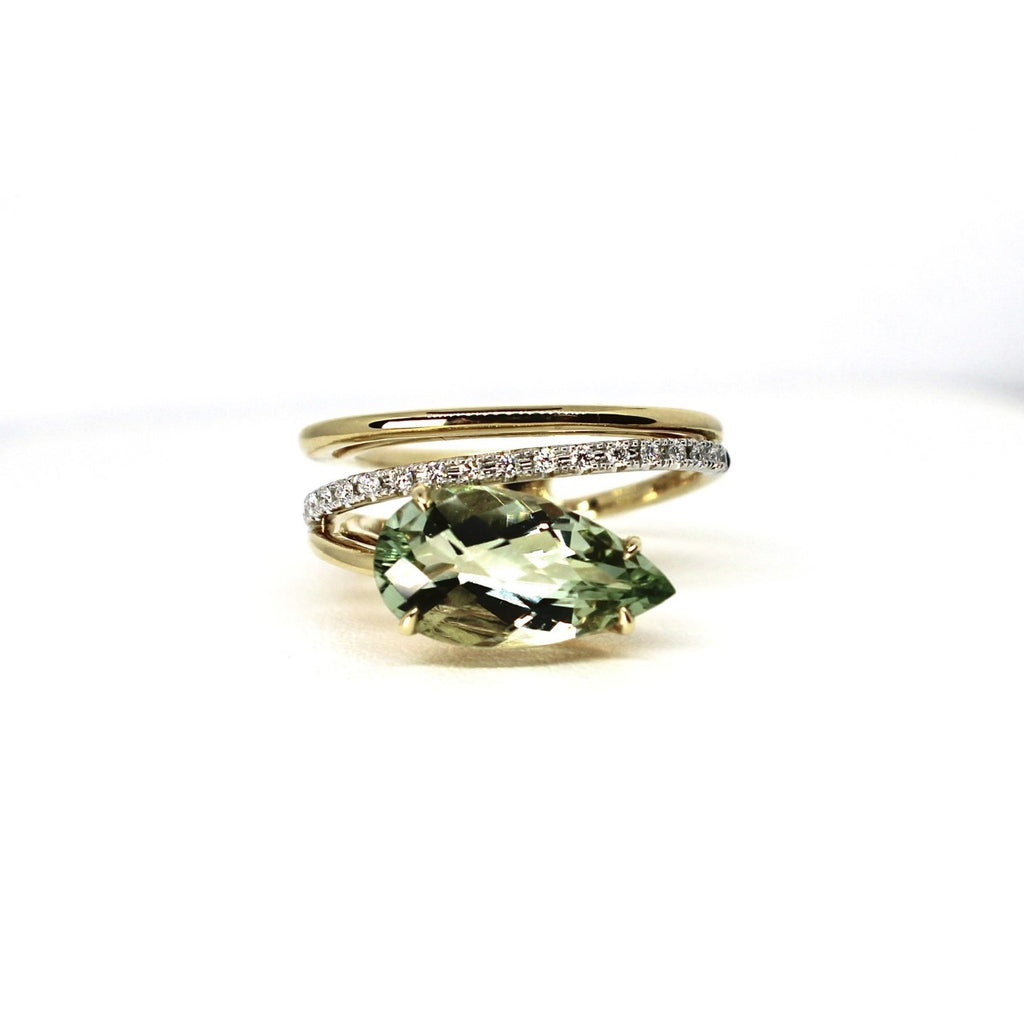 14kt Yellow Gold Green Amethyst And Diamond Fashion Ring