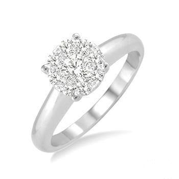 1/3 Ctw Lovebright Round Cut Diamond Ring in 14K White Gold