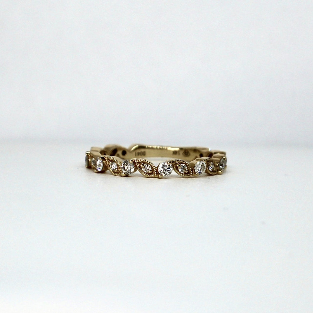 14kt Yellow Gold Diamond Stackable Band