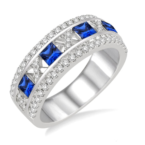 14K White Gold 3x3 MM Princess Cut Sapphire and 3/8 Ctw Round Cut Diamond Ring