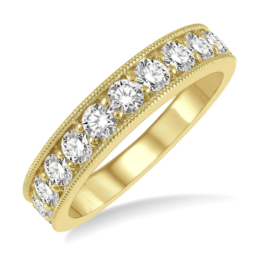 14K Yellow Gold 1 ctw Round Cut Diamond Wedding Band