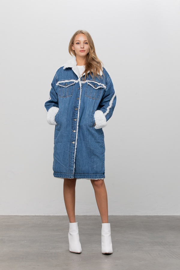 Wonderland White Snow Sherpa Denim Coat - Insanegene.com