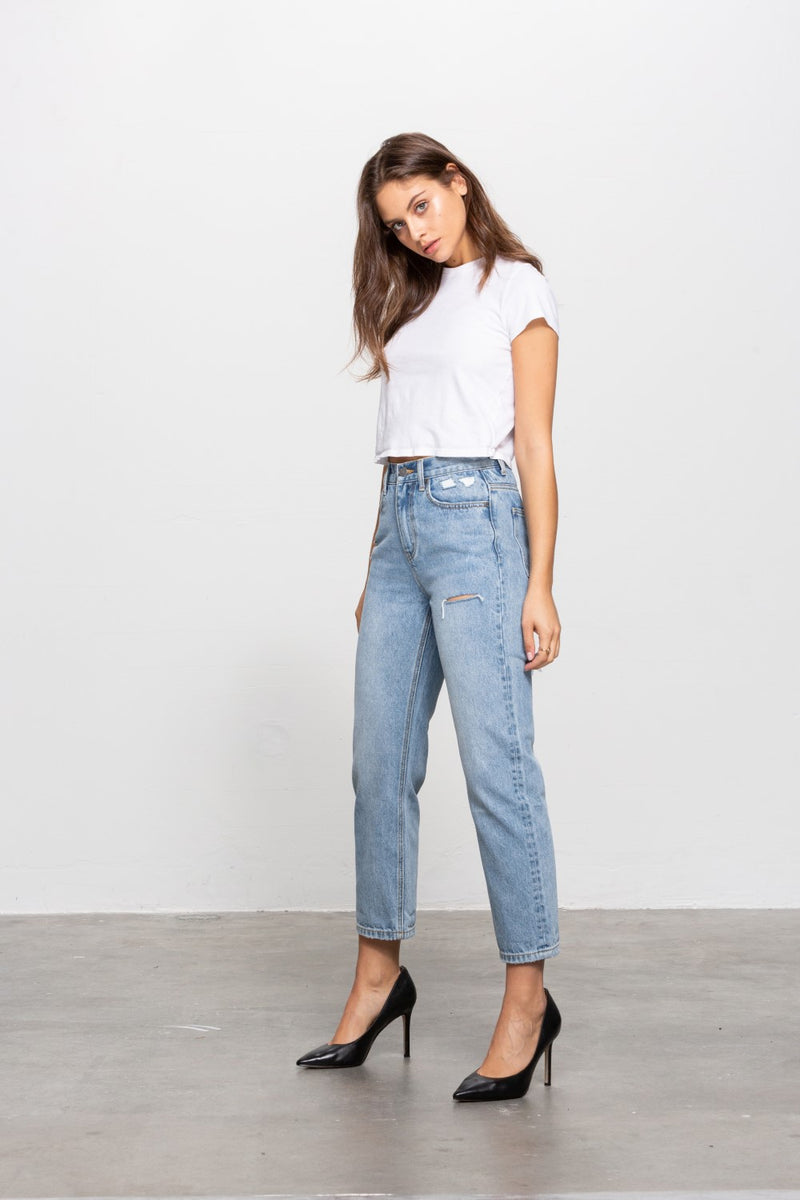 Vanessa Distressed Skinny Mom Jean