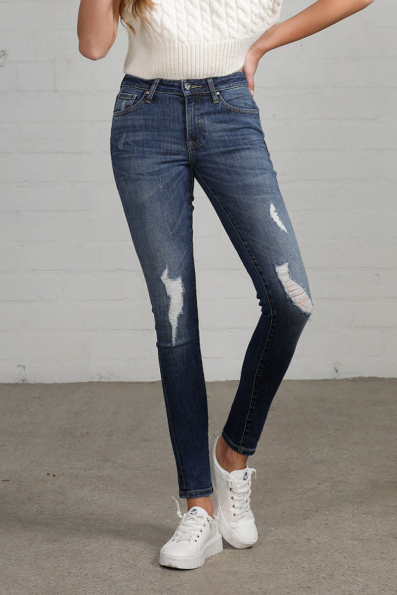 Follow the Trend Distressed Mid Rise Skinny Jeans