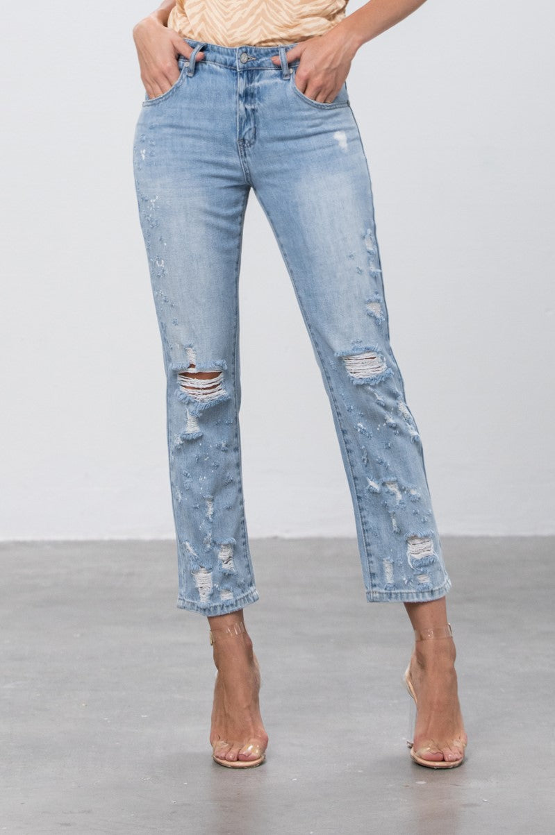 Pure Ambition Destroyed Girlfriend Jeans - Insanegene.com