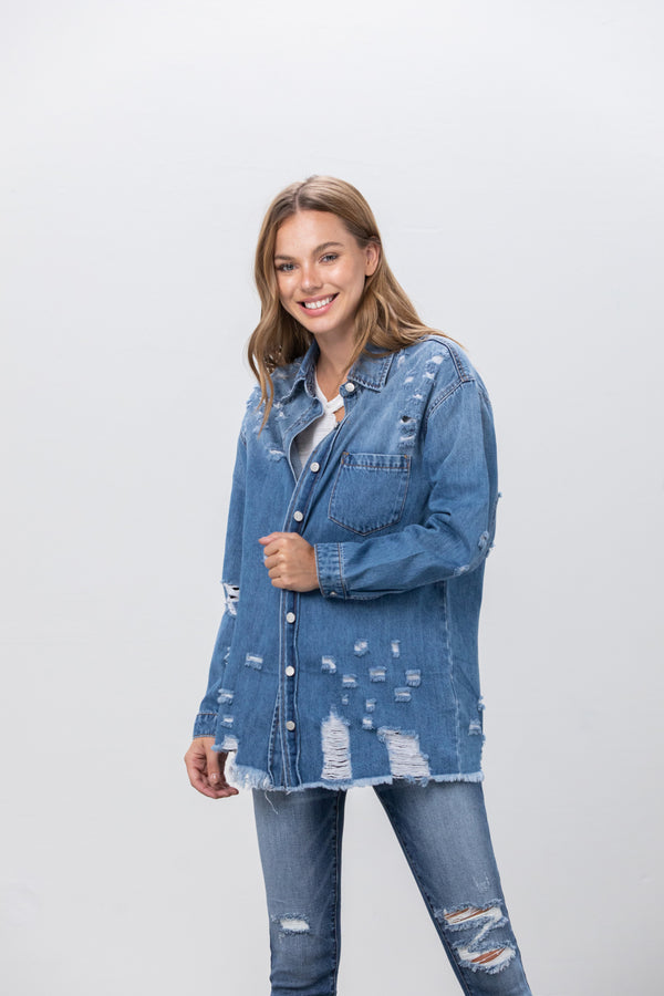 Hug Me Warm Oversized Denim Shirt - Insanegene.com