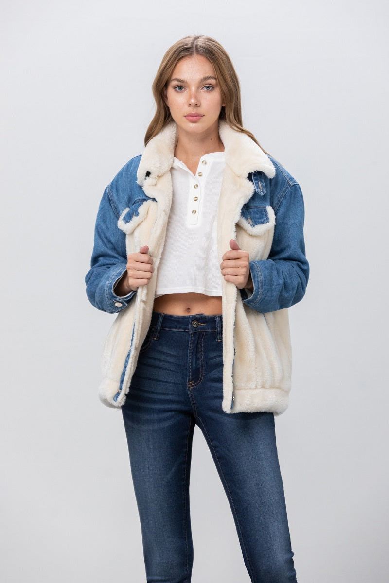 Be the Boss Sherpa Denim Jacket