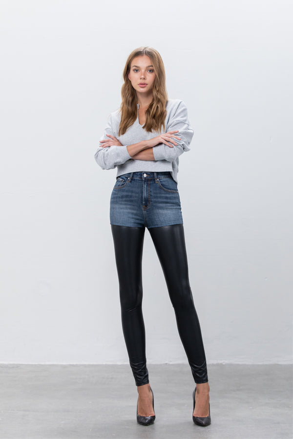 Spot Night light Leather Denim Pants - Insanegene.com