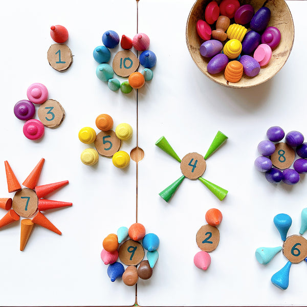 Counting with Wooden Loose Parts - Our Little Treasures