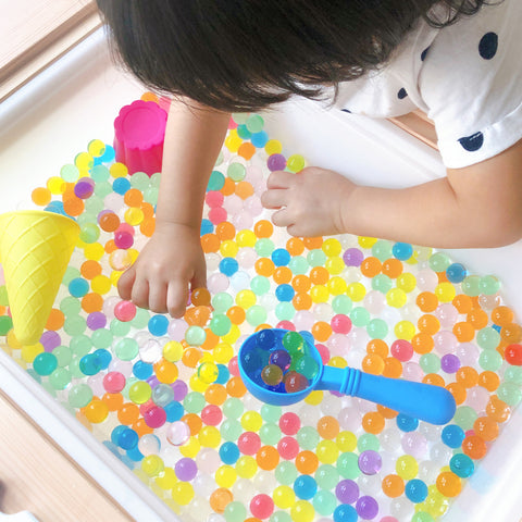 Rainbow Water Beads Sensory Play - Our Little Treasures