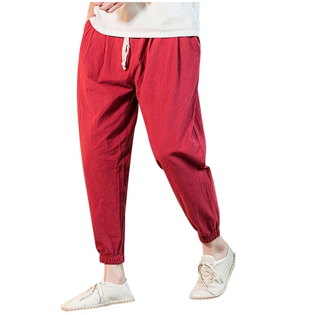 New Men's Casual Vintage Loose Cotton Linen Pure Color Comfort Ankle-Length Pant pantalones hombre streetwear joggers sweatpants