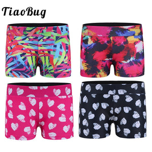 TiaoBug Kids Colorful Printed Activewear Ballet Shorts Girls Yoga Sports Casual Short Pants Workout Gymnastics Shorts Dance Wear
