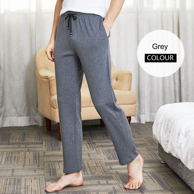 Men's sleep bottom pajama pants solid long lounge pants cotton sleepwear male home pants