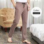 Load image into Gallery viewer, Men's sleep bottom pajama pants solid long lounge pants cotton sleepwear male home pants