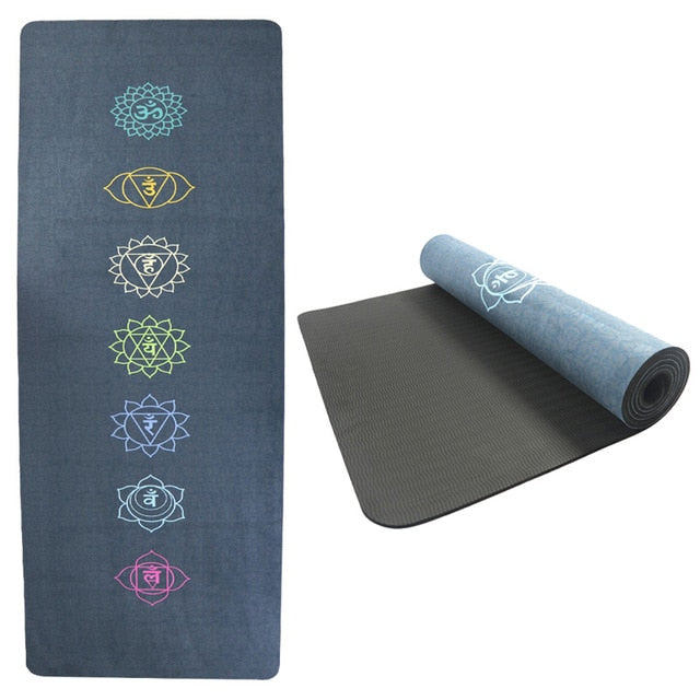 5.5mm TPE Suede Yoga Mat Pad Sport Non-slip Color Printed Slimming Fitness Exercise Mat for Gym Travel Esterilla Pilates 61cm