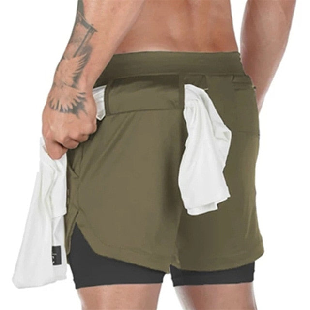 2 Pieces 2020 New Sport Shorts Men Double-deck Jogging Running Shorts Men 2 IN 1 Mens GYM Short Fitness Workout Short Pants Man